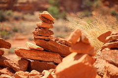 Rock cairns constructed by hikers in the desert. Stock Photography