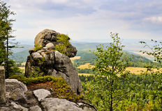 Rock callled Ape in Table Mountains, Poland Royalty Free Stock Photography