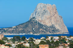 Rock of Calpe, Spain. Famous Rock (Penon de Ifach) and Calpe town summer view (Costa Blanca, Valencia, Spain Stock Photo