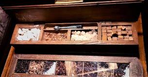 A group of rock sugar. Brown sugar cubes in wooden box . Various tea and various kind of sugar on wooden table. Rock candy sugar in wooden box. Brown sugar cubes royalty free stock photos