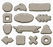 Rock cartoon interface buttons set. Rock interface buttons vector illustration. Cartoon stone ui elements like arrows and panels, frames and banners for game Royalty Free Stock Photo