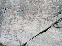 Rock carvings. Close up of rock carvings from Skien, Norway. From the Nordic Bronze Age Royalty Free Stock Photo