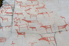 Rock carvings in Alta Norway stock photography