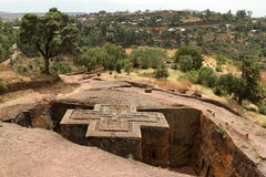 Rock carvings Churches of Lalibela in Ethiopia Royalty Free Stock Images