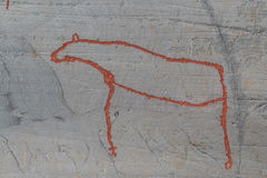 Rock carvings in Alta Finnmark moose. Rock carvings in Hjemmeluft Alta Finnmark Norway Norge Stock Photography