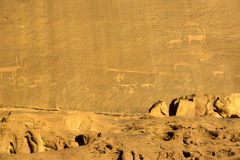 Rock carvings on rocks in the desert. Of Wadi Rum Royalty Free Stock Photography