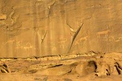 Rock carvings on rocks in the desert. Of Wadi Rum Stock Image