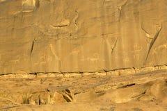 Rock carvings on rocks in the desert. Of Wadi Rum Royalty Free Stock Photo
