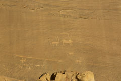 Rock carvings on rocks in the desert. Of Wadi Rum Royalty Free Stock Image