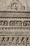 Rock carvings texture background of Ajanta Cave in Aurangabad, India. Close up royalty free stock image