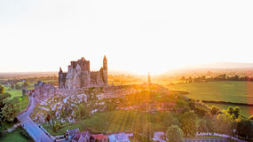 Rock of Cashel castle at sunset time, Co Tipperary, Ireland. Royalty Free Stock Images