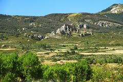 Rock with the Castillo de Loarre close to spanish Pyrenees. Royalty Free Stock Photo