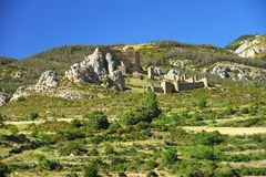 Rock with the Castillo de Loarre close to spanish Pyrenees. Stock Image
