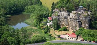Rock castle and hermitage Sloup, Northern Bohemia, Czech Republic Royalty Free Stock Photo