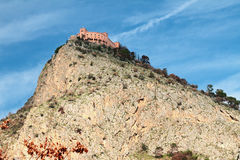 Rock and castle. Palermo, Italy Royalty Free Stock Photography