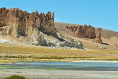 Rock cathedrals in Salar de Tara Royalty Free Stock Photography