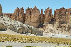 Rock cathedrals in Salar de Tara Royalty Free Stock Photos