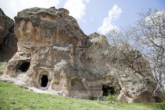 Rock with caves in Midas, Turkey Stock Photo