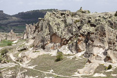 Rock with caves in Midas, Turkey Royalty Free Stock Images