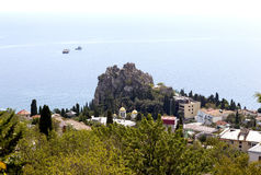 Rock of Chaliapin, Church  the Assumption  the Blessed Virgin Mary View from Mount Bolgatura. Gurzuf. Crimea. Stock Photography