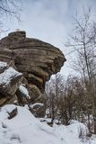 Rock Church in the winter forest near Belokurikha, Altai, Russia royalty free stock images