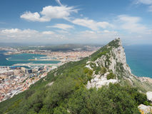 The Rock and The City of Gibraltar From the Top Stock Photography