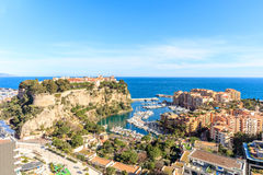 The rock the city of principaute of monaco and monte carlo Royalty Free Stock Image