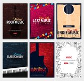 Rock, Classic, Indie, Jazz Music Festival. Open Air. Set of Flyers design Template with hand-draw doodle on the background. Rock, Classic, Indie, Jazz Music stock illustration