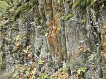 Rock cliff at Dakigaeri Gorge in Japan. stock images