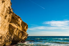 Rock Cliff of Majorca Island at Balearic Islands Royalty Free Stock Photo