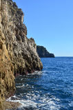 Rock Cliffs Along the Amalfi Coast in Italy Stock Image