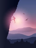 Rock climber background. Silhouette of a rock climber climbing a mountain against a sunset sky vector illustration