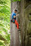 Rock climber on challenging route Royalty Free Stock Photography