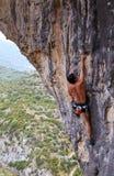 Rock climber on cliff Stock Photos