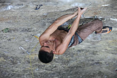 Rock climber on the cliff Royalty Free Stock Images
