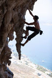 Rock climber on a cliff. Kalymnos Island, Greece stock images