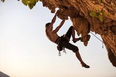 Rock climber of a cliff Royalty Free Stock Image