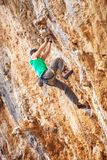 Rock climber on a cliff Stock Photography