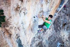 Rock climber on a cliff Royalty Free Stock Image