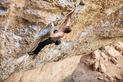 Rock climber on a cliff Royalty Free Stock Photo