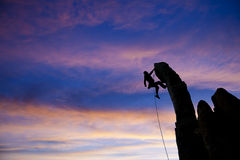Rock climber dangling. Stock Image