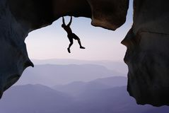 Free Rock Climber Extreme Sports And Mountain Climbing Concepts Stock Photography - 99656242