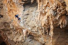 Rock climber on a face of a cliff. Kalymnos island, Greece Stock Photos