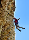 Rock-climber fell from a cliff Royalty Free Stock Photography
