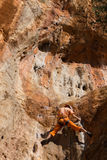 Rock climber girl in Geyikbayiri Royalty Free Stock Images