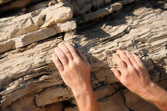Rock climber - hands Stock Image