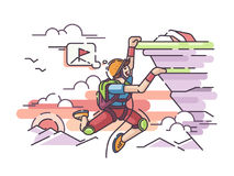 Rock climber hanging on cliff. Climb to summit, vector illustration Stock Photography