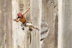 Rock Climber Jumping Royalty Free Stock Image