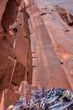 Rock Climber in Moab, UT stock images