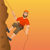 Rock climber. Man commits to rise the steep slope. Cartoon character. Royalty Free Stock Image